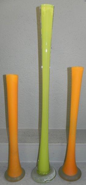 3 Bohemian Art Glass Vases.