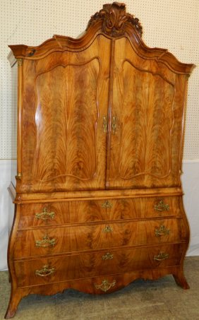 Dutch Bombay Bleach Walnut Shaped Linen Press.