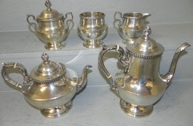 5 Pc. Sterling Tea Service By Poole. 84.375 T.o.