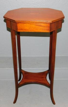 Mahogany Inlaid Candle Stand.