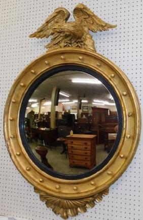 Large 19th C Gilt Spread Bulls Eye Garniture Mirror.