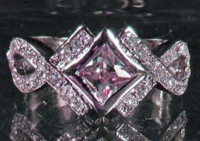 6991 - WHITE GOLD PLATED PINK SAPPHIRE & TOPAZ RING