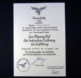 GERMAN NAZI LUFTWAFFE LONG SERVICE MEDAL AWARD DOC