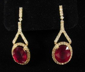 69237 - PAIR OF 14K GOLD RUBY AND DIAMOND EARRINGS