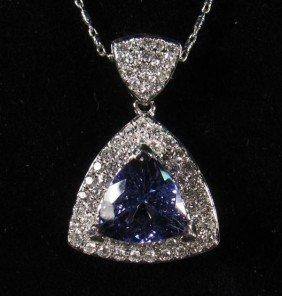 69228 - 14K WHITE GOLD TANZANITE AND DIAMOND PENDA