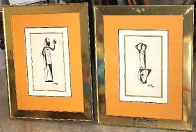 Set Of 2 Abstract Pieces In 1955 & 1959