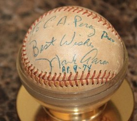 Hank Aaron Signed Baseball In 1974