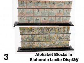 Alphabet Blocks In Elaborate Lucite Display