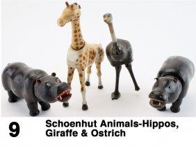 4 Schoenhut Animals-Hippos, Giraffe & Ostrich