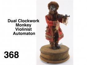 Dual Clockwork Monkey Violinist Automaton