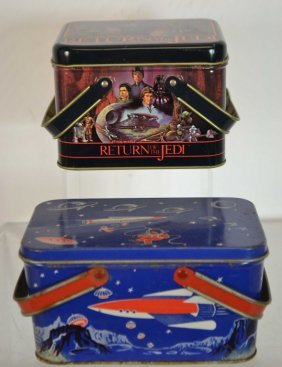 Early 1950's Era Rocket Ship Lunch Pail W/ Other