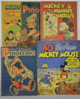 Grouping Of Five 1930's Walt Disney Coloring Books
