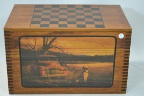 Painted Storage Crate With Checkerboard Top