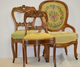 Three 19th Century Walnut Victorian Chairs