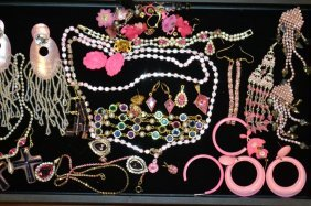 Tray Of Pink Vintage Costume Jewelry