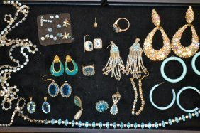 Tray Of Blue Costume Jewelry