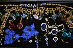 Tray Of Blue & Red Rhinestone Jewelry