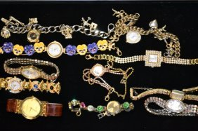 Tray Of Costume Watches & Rhinestone Watches