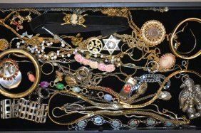 Tray Of Costume & Mexican Silver Costume Jewelry