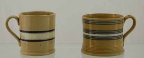 2 Yelloware Blue & White Banded Mugs (ca 1860-1900)