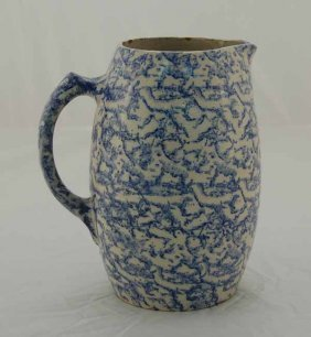 "Blue Spongeware Bulbous Pitcher - 8 1/2"" Tall"