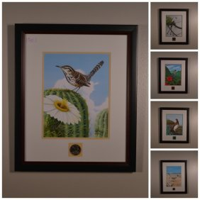 5 Bird And Flower Prints With 2008 State Quarter