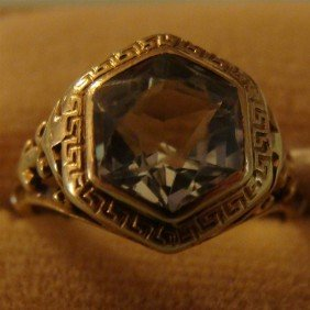 Antique 14K Yellow Gold Aquamarine Ring Size
