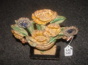 Antique Cast Iron Flower Basket Door Stop Wit