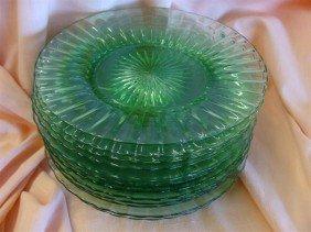 12 Signed Heisey Dessert Plates In Emerald Gr