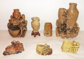 SEVEN PIECES OF CARVED SOAPSTONE