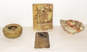 FOUR PIECES CARVED SOAPSTONE