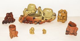 SEVEN  PIECES OF SOAPSTONE CARVED WITH MONKEYS