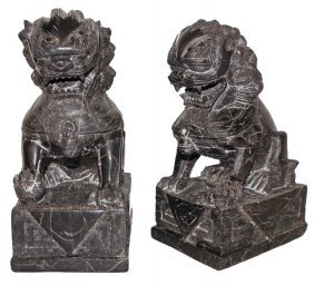 CARVED SOAPSTONE OF TEMPLE LION BOOKENDS