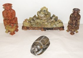 FOUR PIECES OF CARVED SOAPSTONE