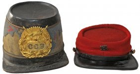 TWO 19TH CENTURY MILITARY HATS