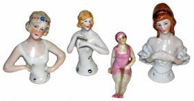PORCELAIN HALF DOLLS AND BATHING BEAUTY