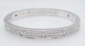 Cartier 18k Gold 3.16 Tcw Diamond Paved Love Bracelet
