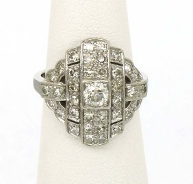 LADIES ART DECO PLATINUM 1.25CT DIAMOND RING