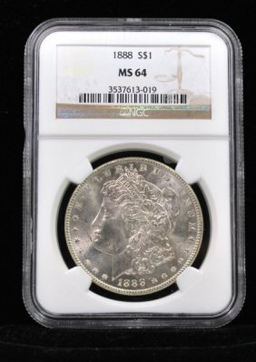 1888 $1 MORGAN SILVER DOLLAR MS 64 NGC