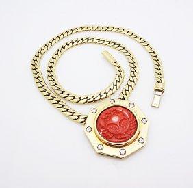 18k Yellow Gold Horoscope Pendant With Coral & Diamonds