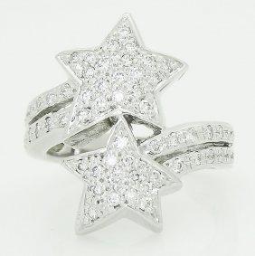 14k Gold 0.75 Tcw Vvs/vs F/g Diamond Double Star Ring