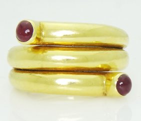 Tiffany & Co Schlumberger 18k Cabochon Ruby Ring