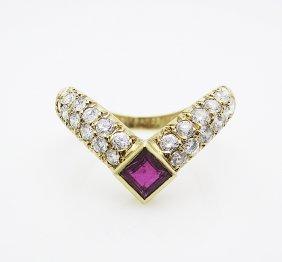 Van Cleef & Arpels 18k Ring .72c Diamonds & 30 C Ruby