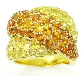 Designer Damiani 18k Yellow Gold Sapphire Crossover