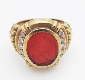 Vintage Judith Ripka 18k Trojan Head & Diamond Ring