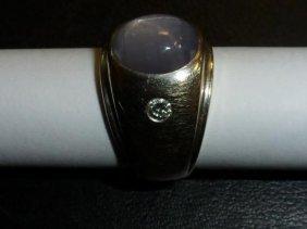 14k Gold Star Sapphire & Diamond Ring