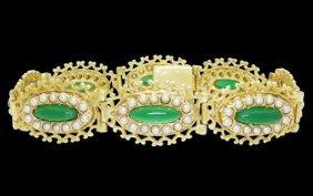 Estate 14k Yellow Gold Green Onyx & Seed Pearl Filigree