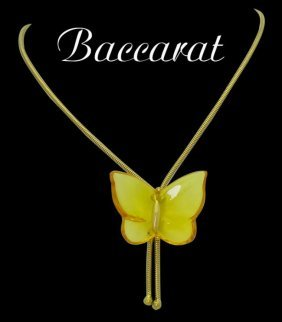 Baccarat 18k Yellow Gold Yellow Butterfly Pendant Bolo