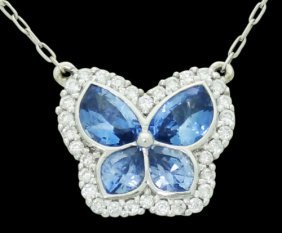 18k White Gold 1.25 Tcw Diamond & Blue Topaz Butterfly