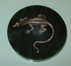 Russiam Silver Lizard On Green Agate Base
